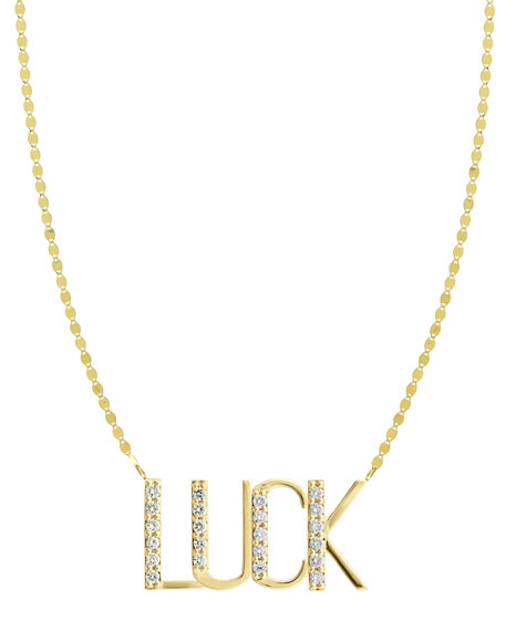 LUCK 14K Gold Pendant Necklace with Diamonds