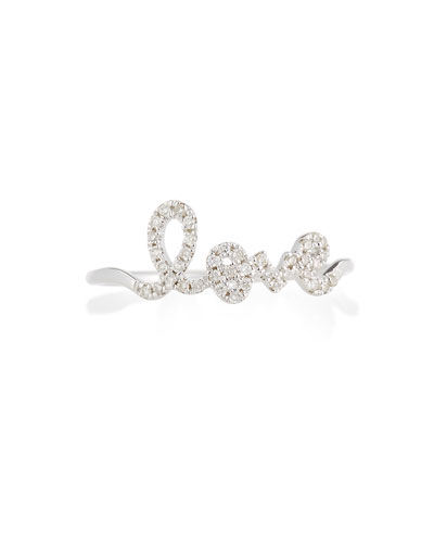 14k White Gold Diamond Love Script Ring  Size 6.5