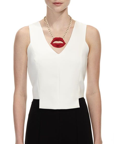 Faceted Crystal Lips Statement Necklace