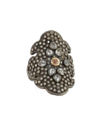 Old World Diamond Scroll Ring with Garnet