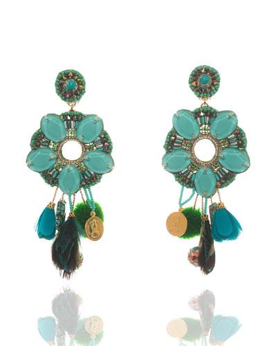 Beaded Tassel Drop Clip-On Earrings, Turquoise