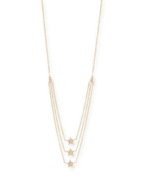 Layered Diamond Star Charm Necklace in 14K Yellow Gold