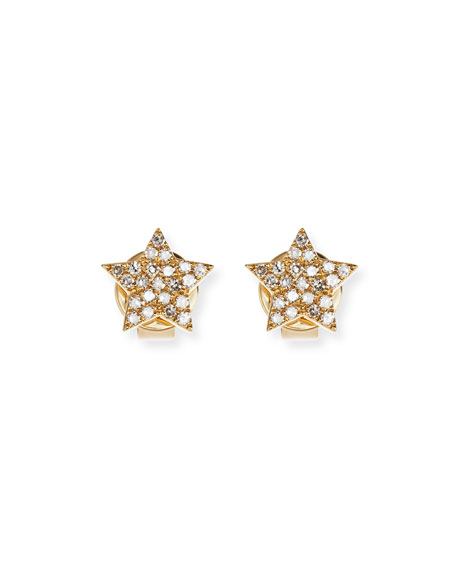 Pavé Diamond 14K Gold Star Stud Earrings