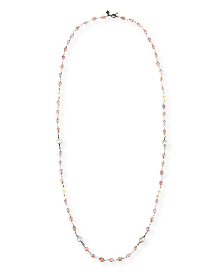 Old World Beaded Peach Moonstone Necklace with Diamonds, 38""