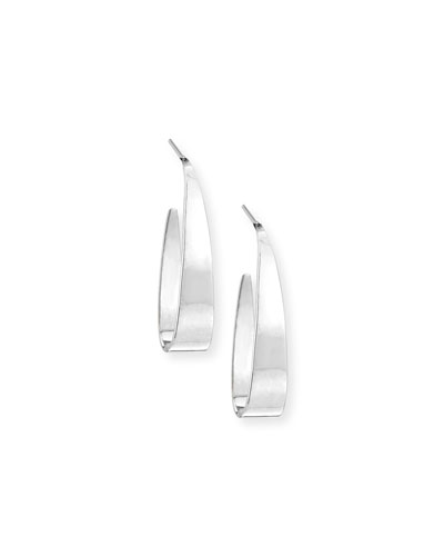 Narrow Gloss 14K Gold Thread-Through Earrings