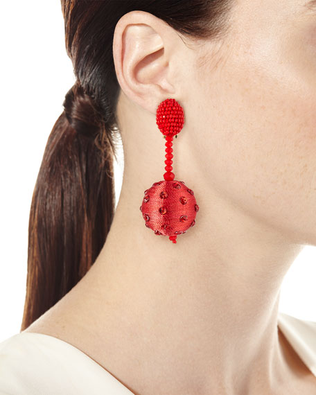 Beaded Polka Dot Ball Drop Clip-On Earrings