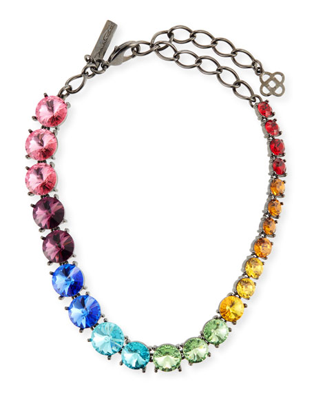 Ashley Pittman Malkia Light Horn & Crystal Collar Necklace