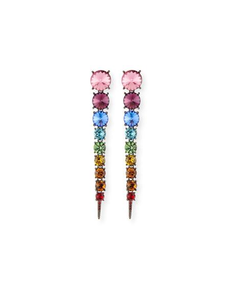Swarovski Crystal Cascade Rainbow Tendril Earrings