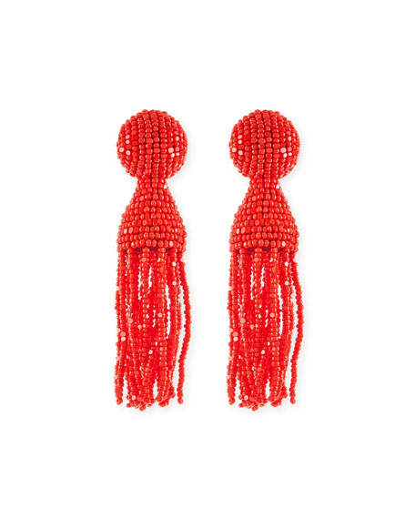Short Beaded Tassel Clip-On Earrings