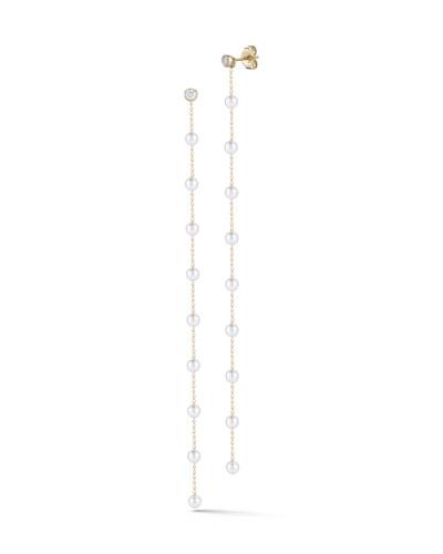 14k Diamond & Pearl Chain Dangle Earrings