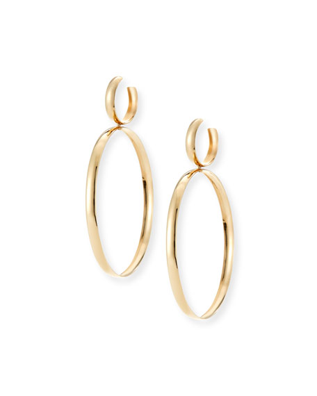 Curve Large Hoop Drop Earrings in Yellow Gold