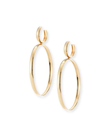 Curve Large Hoop Drop Earrings, Gold