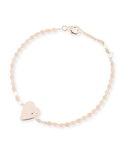 14k Petite Heart Bracelet w/ White Diamond