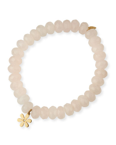 Rose Quartz Beaded Bracelet with Diamond Daisy Charm