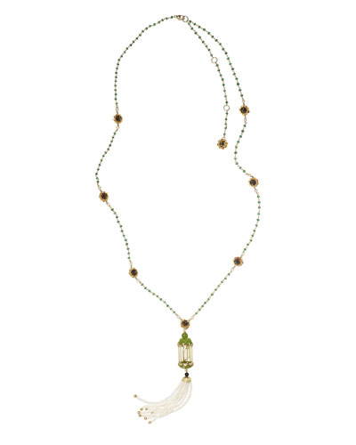 Aviary Tassel Necklace with Jade & Carnelian