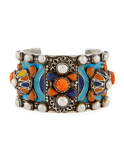 Marrakech Enameled Wide Cuff Bracelet