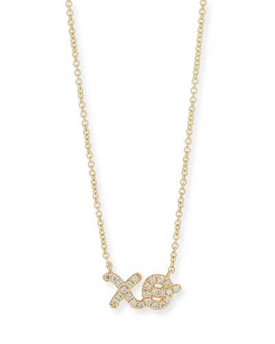 14k Diamond XO Pendant Necklace