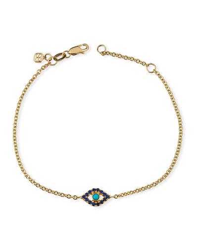 14k Sapphire & Turquoise Evil Eye Chain Bracelet