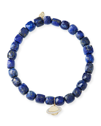 14k Lapis Beaded Stretch Bracelet w/ Saturn Charm
