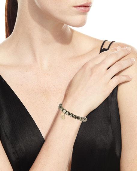 14k Pyrite Beaded Stretch Bracelet w/ Lock Charm