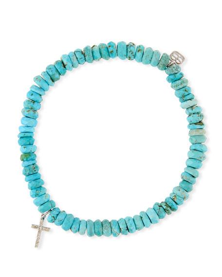 14k Turquoise Beaded Stretch Bracelet w/ Cross Charm