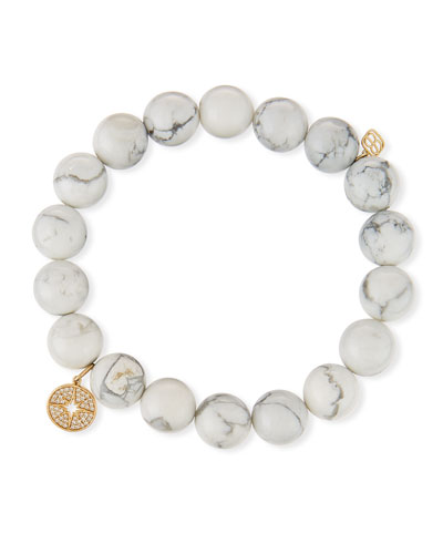 14k Howlite Beaded Stretch Bracelet w/ Starburst Charm