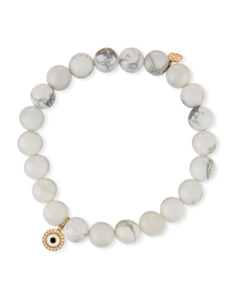 Sydney Evan  14K HOWLITE BEADED STRETCH BRACELET W/ EVIL EYE