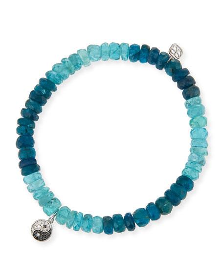 14k Apatite Beaded Stretch Bracelet w/ Diamond Yin Yang