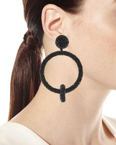 Beaded Double-Hoop Clip-On Earrings