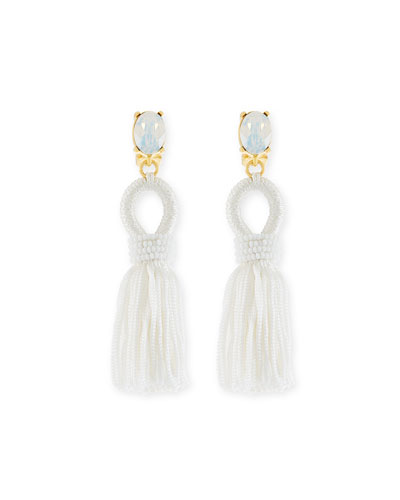 Short Silk Tassel Clip Earrings, White