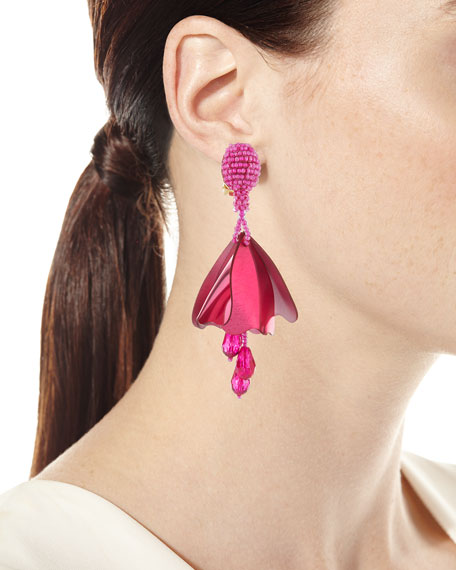 Small Impatiens Beaded Clip-On Earrings, Pink