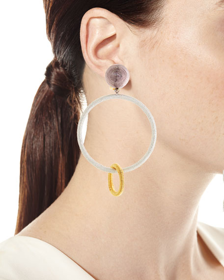 Two-Tone Silk Double Hoop Drop Clip Earrings