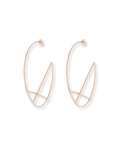 14k Wire Diagonal Cross Eclipse Hoop Earrings