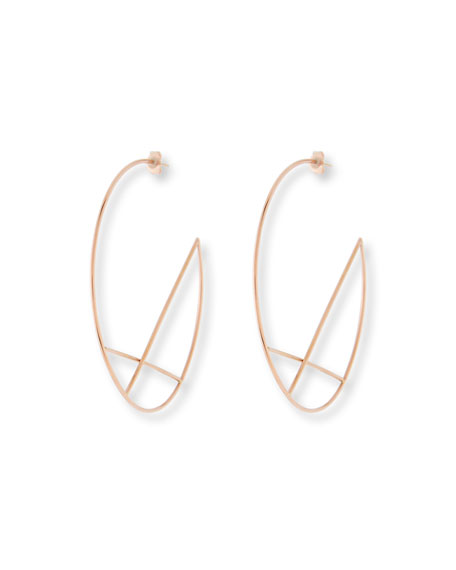 14k Wire Diagonal Cross Eclipse Hoop Earrings