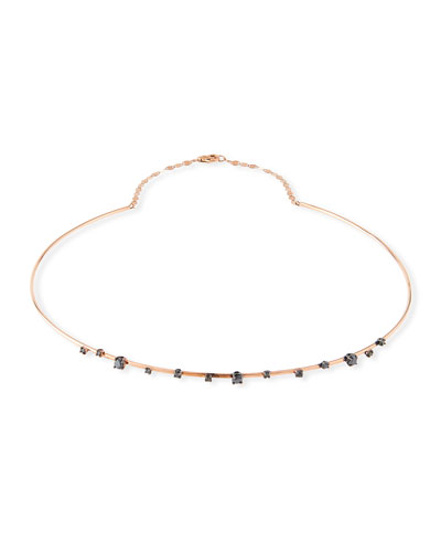 Reckless Solo Choker Necklace in 14k Rose Gold with Black Diamonds