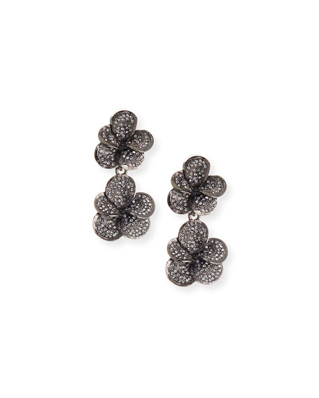 Oscar De La Renta  PAVÉ SWAROVSKI CRYSTAL FLOWER CLIP EARRINGS