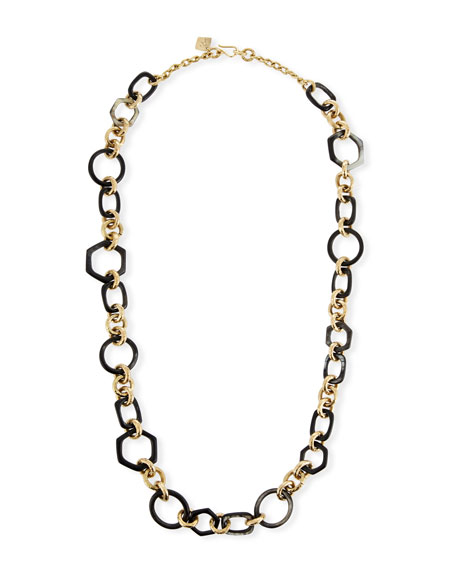ASHLEY PITTMAN Shauri Dark Horn Link Necklace in Brown