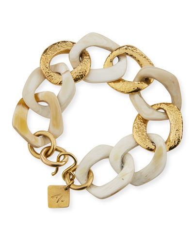 Salama Light Horn & Bronze Link Bracelet
