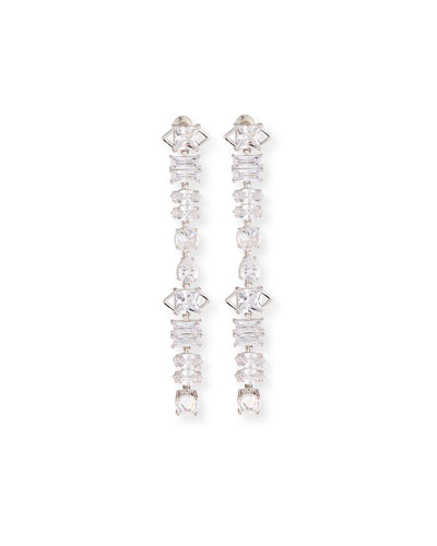 Jagged Edge Cubic Zirconia Drop Earrings