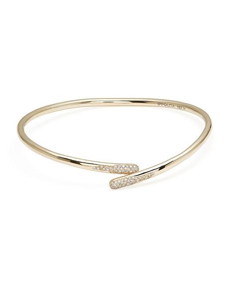 Ippolita 18K Gold Stardust Bypass Hinged Bangle Bracelet