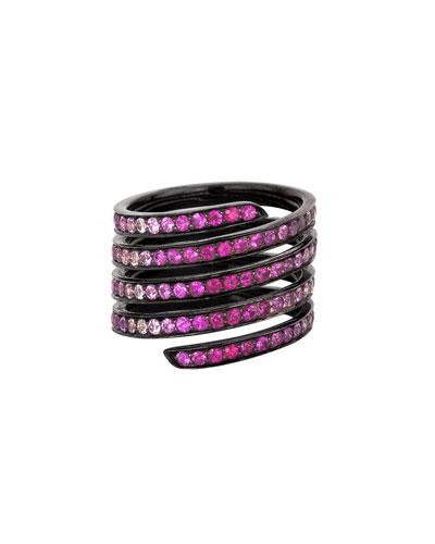 Ombré Pavé Sapphire & Ruby Coil ring