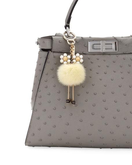 42aceb5c42b2 Fendi Chick Pompom Mink with Pearl Eye Bag Charm