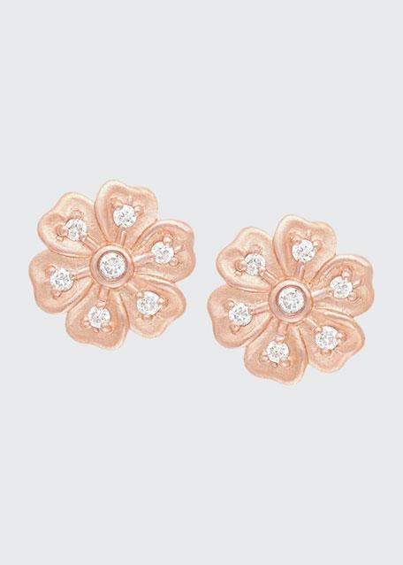 Lilac Diamond Flower Stud Earrings