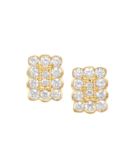 Jamie Wolf 18k Small Rectangle Diamond Stud Earrings