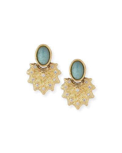 Old World 18k Starburst Aquaprase Stud Earrings