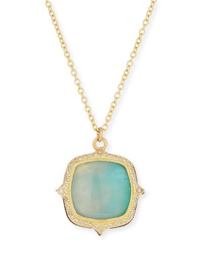 Old World 18k Aquaprase Pendant Necklace