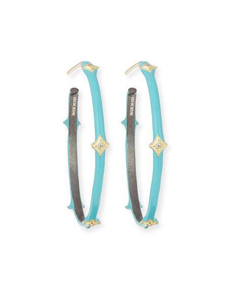 Armenta Old World 18k Turquoise Enamel Hoop Earrings