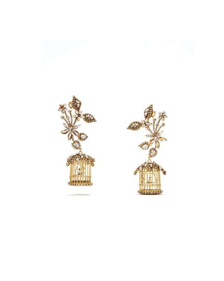 ERICKSON BEAMON 24K Swarovski Crystal Birdcage Earrings in Gold