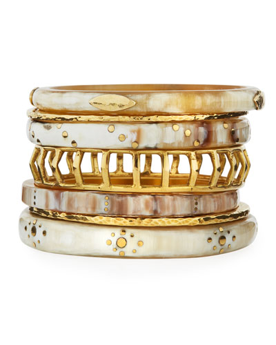 Almasi Light Horn Stacking Bangles, Set of 7