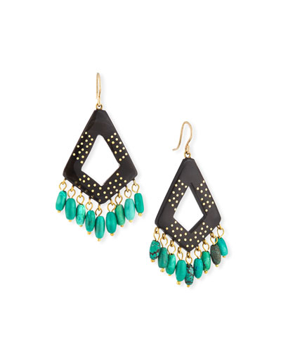 Mashua Dark Horn Dangle Earrings w/ Turquoise